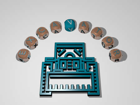 3D representation of excavator with icon on the wall and text arranged by metallic cubic letters on a mirror floor for concept meaning and slideshow presentation. construction and equipment