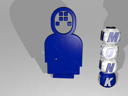 3D illustration of MONK graphics and text around the icon made by metallic dice letters for the related meanings of the concept and presentations. buddhist and buddhism