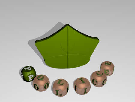 3D illustration of police graphics and text around the icon made by metallic dice letters for the related meanings of the concept and presentations. editorial and car