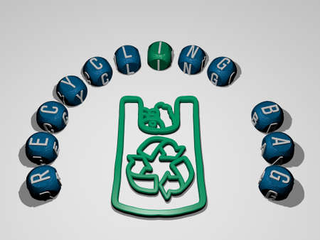 3D illustration of recycling bag graphics and text around the icon made by metallic dice letters for the related meanings of the concept and presentations. background and waste
