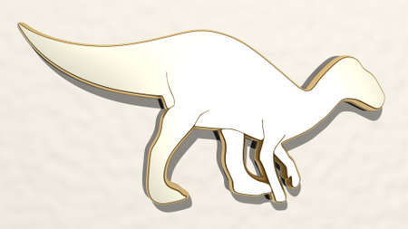 dinosaur on the wall. 3D illustration of metallic sculpture over a white background with mild texture. animal and cartoon