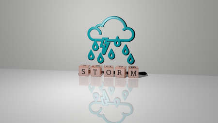 3D illustration of STORM graphics and text made by metallic dice letters for the related meanings of the concept and presentations. background and clouds