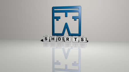 3D representation of SHORTS with icon on the wall and text arranged by metallic cubic letters on a mirror floor for concept meaning and slideshow presentation. beautiful and girl