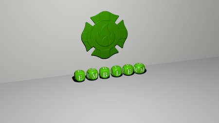 3D illustration of emblem graphics and text made by metallic dice letters for the related meanings of the concept and presentations. 免版税图像
