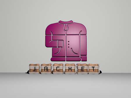 3D graphical image of jacket vertically along with text built by metallic cubic letters from the top perspective, excellent for the concept presentation and slideshows. background and girl