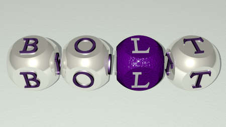 bolt combined by dice letters and color crossing for the related meanings of the concept. illustration and background