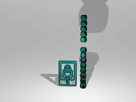 3D graphical image of voice recorder vertically along with text built around the icon by metallic cubic letters from the top perspective. excellent for the concept presentation and slideshows.