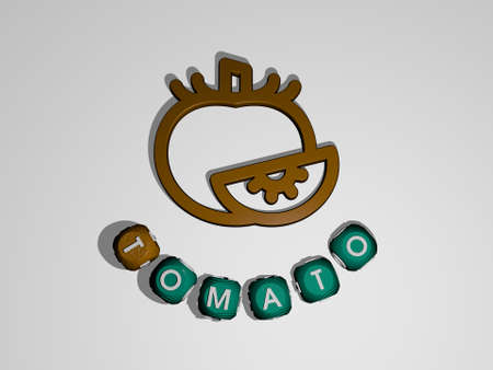 3D graphical image of TOMATO vertically along with text built around the icon by metallic cubic letters from the top perspective, excellent for the concept presentation and slideshows. background 免版税图像