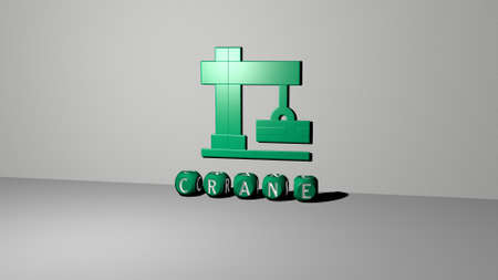 3D representation of CRANE with icon on the wall and text arranged by metallic cubic letters on a mirror floor for concept meaning and slideshow presentation. construction and building Reklamní fotografie