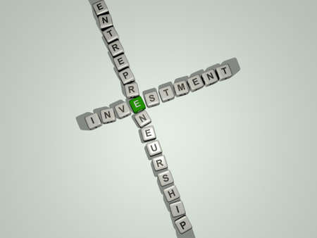 crosswords of INVESTMENT ENTREPRENEURSHIP arranged by cubic letters on a mirror floor, concept meaning and presentation. business and illustration Foto de archivo