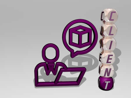 3D representation of client with icon on the wall and text arranged by metallic cubic letters on a mirror floor for concept meaning and slideshow presentation. business and customer