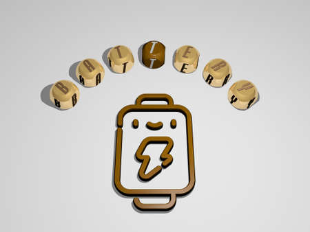 3D illustration of BATTERY graphics and text around the icon made by metallic dice letters for the related meanings of the concept and presentations. background and electric
