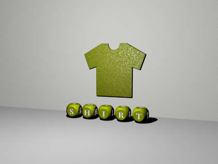 3D graphical image of SHIRT vertically along with text built by metallic cubic letters from the top perspective, excellent for the concept presentation and slideshows. background and white
