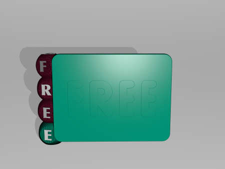 3D representation of FREE with icon on the wall and text arranged by metallic cubic letters on a mirror floor for concept meaning and slideshow presentation. illustration and background