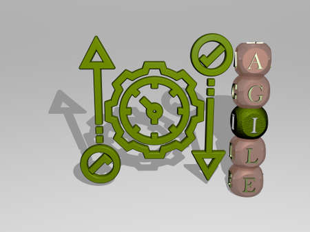 3D representation of agile with icon on the wall and text arranged by metallic cubic letters on a mirror floor for concept meaning and slideshow presentation. business and illustration