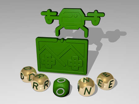 3D illustration of drone graphics and text around the icon made by metallic dice letters for the related meanings of the concept and presentations. aerial and view