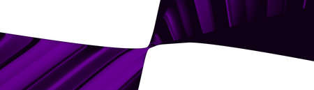 Ultra wide 3D illustration of a geometrical shape of dark violet color on a white abstract background as a curved and glossy surface with direct light reflection. black and blue 版權商用圖片