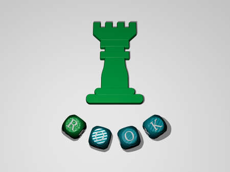 3D illustration of ROOK graphics and text around the icon made by metallic dice letters for the related meanings of the concept and presentations. chess and black