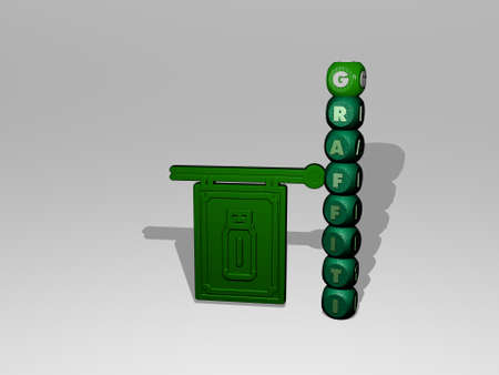 3D illustration of graffiti graphics and text around the icon made by metallic dice letters for the related meanings of the concept and presentations. art and background