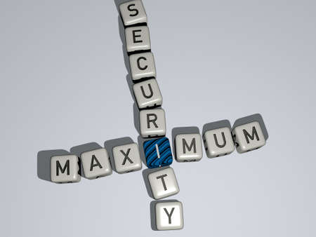 maximum security combined by dice letters and color crossing for the related meanings of the concept. illustration and background