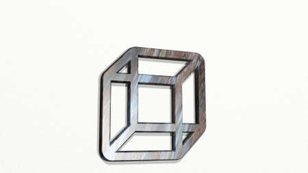 shape cube from a perspective on the wall. A thick sculpture made of metallic materials of 3D rendering. illustration and background