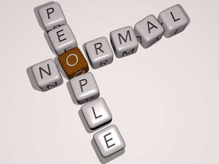 combination of NORMAL PEOPLE built by cubic letters from the top perspective, excellent for the concept presentation. illustration and background 免版税图像