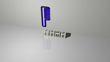 3D representation of comb with icon on the wall and text arranged by metallic cubic letters on a mirror floor for concept meaning and slideshow presentation. background and hair Archivio Fotografico
