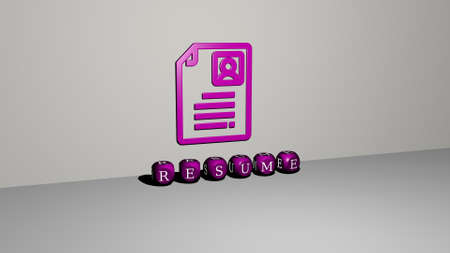 3D representation of resume with icon on the wall and text arranged by metallic cubic letters on a mirror floor for concept meaning and slideshow presentation. business and illustration