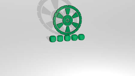 3D representation of WHEEL with icon on the wall and text arranged by metallic cubic letters on a mirror floor for concept meaning and slideshow presentation. illustration and background