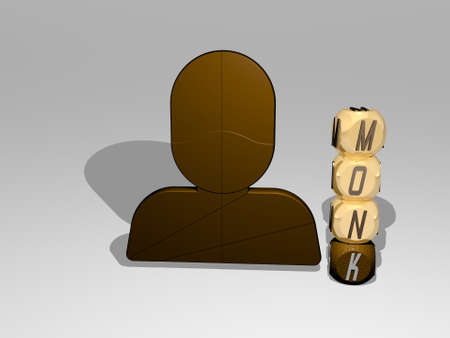 3D representation of monk with icon on the wall and text arranged by metallic cubic letters on a mirror floor for concept meaning and slideshow presentation. buddhist and buddhism