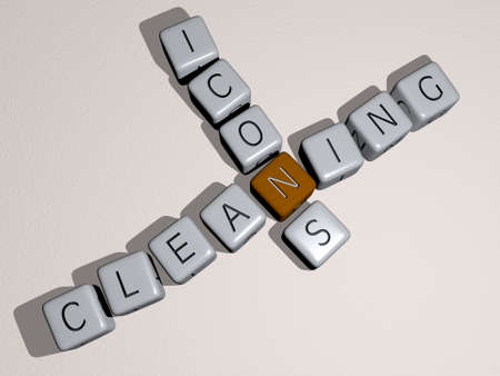 crosswords of CLEANING ICONS arranged by cubic letters on a mirror floor, concept meaning and presentation. background and illustration