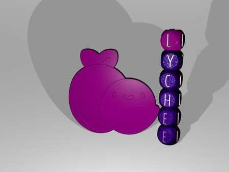 3D representation of lychee with icon on the wall and text arranged by metallic cubic letters on a mirror floor for concept meaning and slideshow presentation. fruit and background Zdjęcie Seryjne