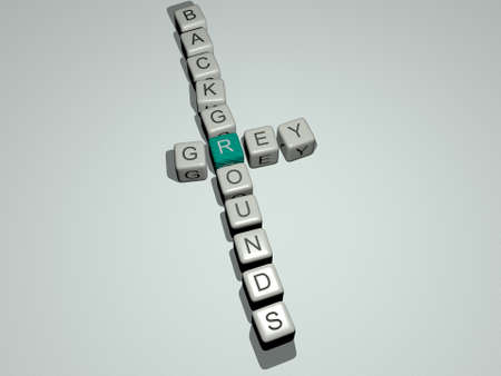 crosswords of grey backgrounds arranged by cubic letters on a mirror floor, concept meaning and presentation. illustration and abstract