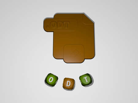 3D representation of ODT with icon on the wall and text arranged by metallic cubic letters on a mirror floor for concept meaning and slideshow presentation