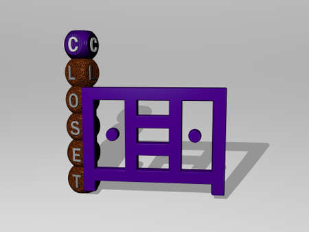 3D representation of closet with icon on the wall and text arranged by metallic cubic letters on a mirror floor for concept meaning and slideshow presentation. illustration and background