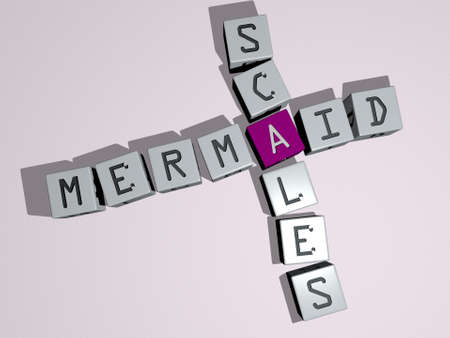 crosswords of mermaid scales arranged by cubic letters on a mirror floor, concept meaning and presentation. illustration and background