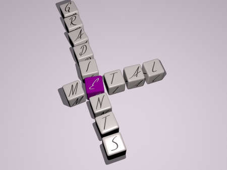 crosswords of metal gradients arranged by cubic letters on a mirror floor, concept meaning and presentation. background and illustration