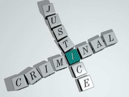 crosswords of criminal justice arranged by cubic letters on a mirror floor, concept meaning and presentation. crime and illustration