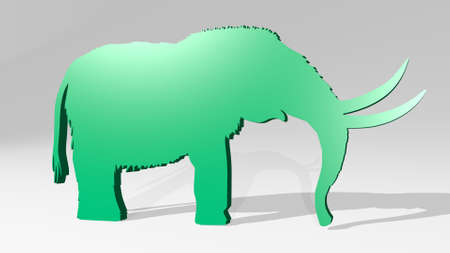 mammut ancient elephant from a perspective with the shadow. A thick sculpture made of metallic materials of 3D rendering. architecture and building 版權商用圖片