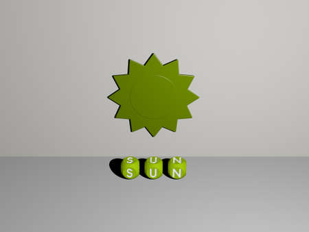 3D representation of SUN with icon on the wall and text arranged by metallic cubic letters on a mirror floor for concept meaning and slideshow presentation. background and illustration Zdjęcie Seryjne