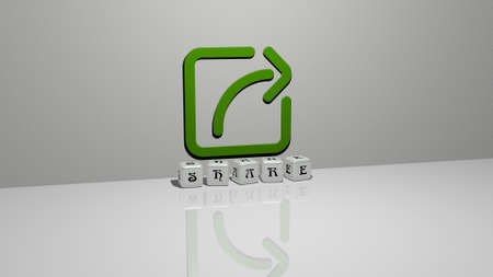 3D graphical image of share vertically along with text built by metallic cubic letters from the top perspective, excellent for the concept presentation and slideshows. illustration and business Stockfoto