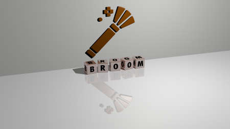 3D graphical image of BROOM vertically along with text built by metallic cubic letters from the top perspective, excellent for the concept presentation and slideshows. illustration and background