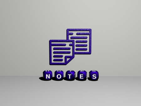 3D representation of NOTES with icon on the wall and text arranged by metallic cubic letters on a mirror floor for concept meaning and slideshow presentation. background and illustration Reklamní fotografie