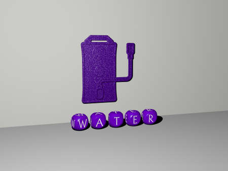 3D illustration of water graphics and text made by metallic dice letters for the related meanings of the concept and presentations. background and blue Zdjęcie Seryjne