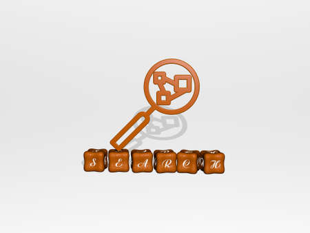 3D graphical image of SEARCH vertically along with text built by metallic cubic letters from the top perspective, excellent for the concept presentation and slideshows. illustration and icon