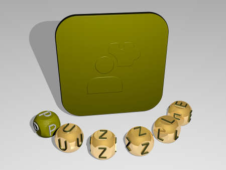3D illustration of puzzle graphics and text around the icon made by metallic dice letters for the related meanings of the concept and presentations. background and business