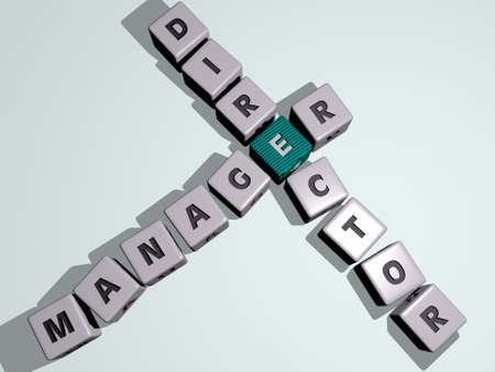 crosswords of MANAGER DIRECTOR arranged by cubic letters on a mirror floor, concept meaning and presentation. business and businessman