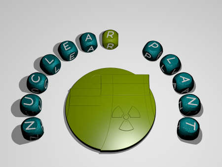 3D illustration of nuclear plant graphics and text around the icon made by metallic dice letters for the related meanings of the concept and presentations. power and background