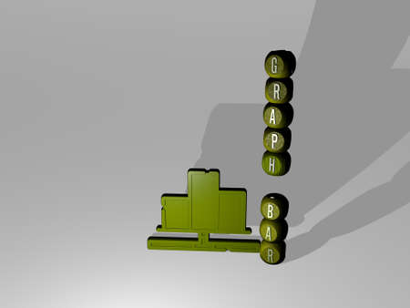 3D representation of graph bar with icon on the wall and text arranged by metallic cubic letters on a mirror floor for concept meaning and slideshow presentation. business and illustration Foto de archivo