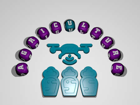 3D illustration of agriculture graphics and text around the icon made by metallic dice letters for the related meanings of the concept and presentations. background and farm Banque d'images